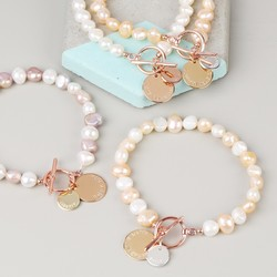 Handmade Nugget Pearl Bracelet with Personalised Double Discs