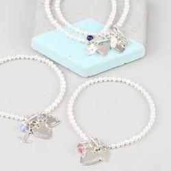 Personalised Seed Pearl Charm Bracelet
