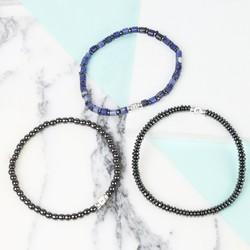 Personalised Men's Semi-Precious Stone Initial Bracelet