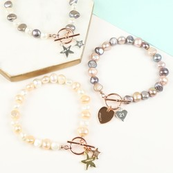 Personalised Double Charm Pearl Bracelet