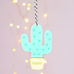 Personalised Acrylic Cactus Hanging Decoration