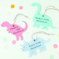 Personalised Acrylic Christmas Dinosaur Hanging Decoration