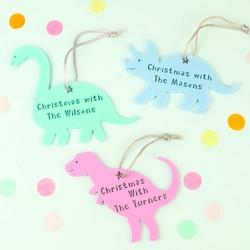 Personalised Acrylic Family Dinosaur Hanging Decoration