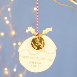Personalised Wooden Christmas Pudding Hanging Decoration