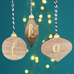 Personalised Wooden Bauble Hanging Decoration with Initial