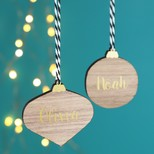 Wooden Bauble Hanging Decoration with Name