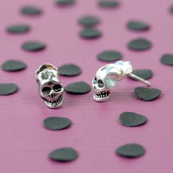 Tiny Silver Skull Stud Earrings