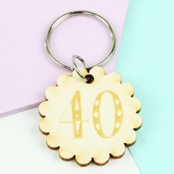 Engraved Wooden '40' Birthday Keyring