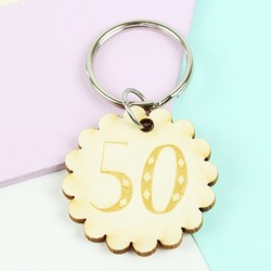 Engraved Wooden '50' Birthday Keyring
