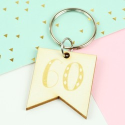 Engraved Wooden '60' Birthday Keyring