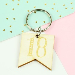 Engraved Wooden '18' Birthday Keyring