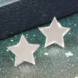 Mirrored Acrylic Silver Star Stud Earrings