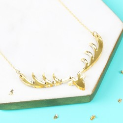 Gold Acrylic Stag Necklace