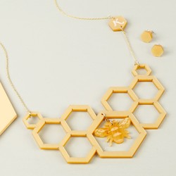 Handmade Acrylic Honeycomb Necklace and Earring Set