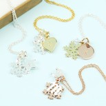 Mixed Metal Christmas Snowflake & Initial Charm Necklace