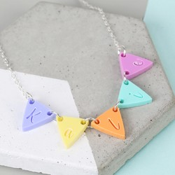 Personalised Acrylic Bunting Name Necklace