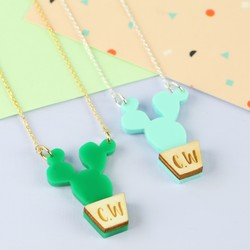Personalised Acrylic and Wood Cactus Necklace