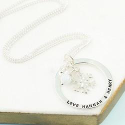 Personalised Eternity Hoop and Snowflake Necklace