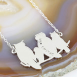Personalised Owls on a Branch Pendant Necklace