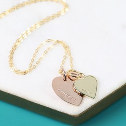 Personalised Solid Gold Double Heart Charm Necklace