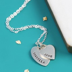 Personalised Sterling Silver Double Heart Charm Necklace
