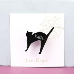 Personalised Black Cat Halloween Brooch