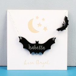 Personalised Double Bat Halloween Necklace