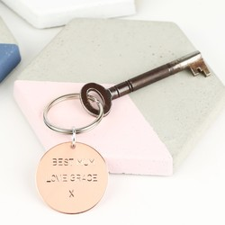 Personalised Small Round Copper Keyring