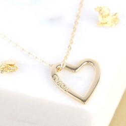 Personalised Solid Gold Heart Outline Necklace