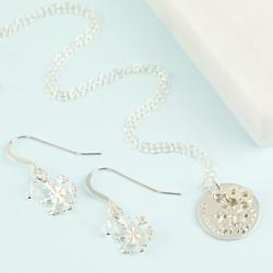 Personalised Sterling Silver Snowflake Jewellery Set