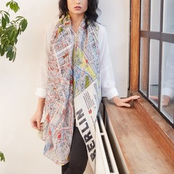 One Hundred Stars Berlin Map Print Scarf