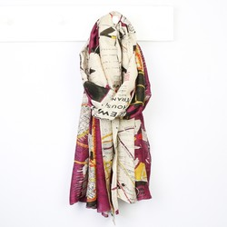 One Hundred Stars New York City Subway Map Scarf in Wine
