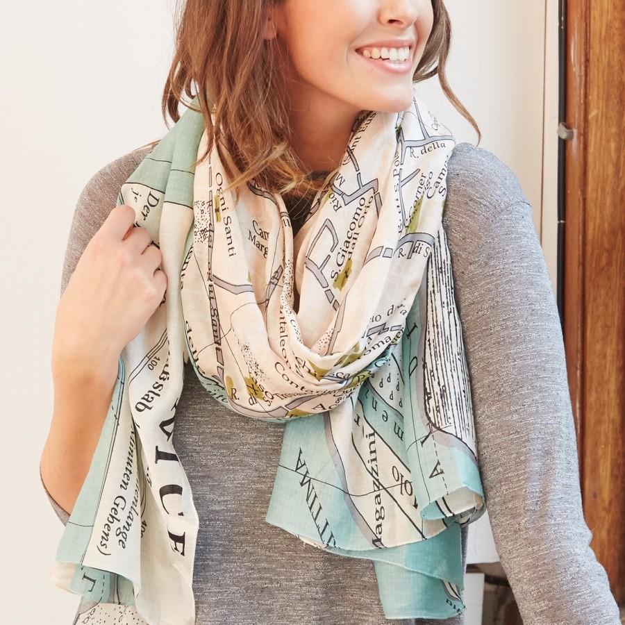 one hundred stars venice map print scarf  accessories  lisa  - one hundred stars venice map print scarf  accessories  lisa angel scarves