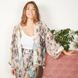 One Hundred Stars Paris Map Print Kimono