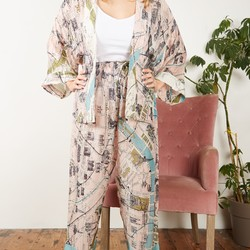 One Hundred Stars Paris Map Print Palazzo Pants