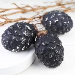Antiqued Black Pinecone Bauble