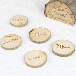 Set of 4 Personalised Wooden Log Chip Place Settings