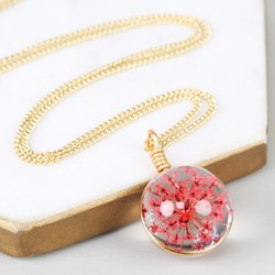 Long Pressed Pink Flower and Glass Ball Pendant Necklace