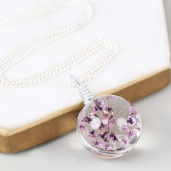 Long Pressed Purple Flower and Glass Ball Pendant Necklace