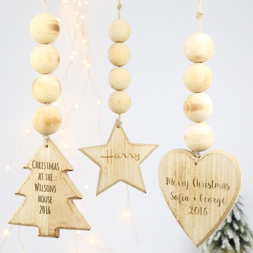 Personalised Wooden Tree Hanging Decoration
