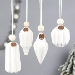 Set of 4 Personalised Geometric Ceramic Hanging Decorations