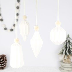 Set of 4 Geometric White Ceramic Hanging Decorations