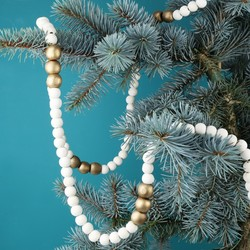Gold and Natural Wooden Bead Garland