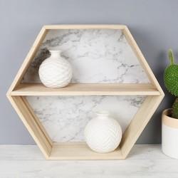 Marble Effect Wooden Hexagon Wall Shelf