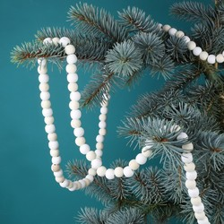 Natural and White Wooden Bead Garland