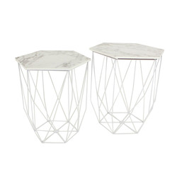 Set of 2 Marble Effect Geometric Tables