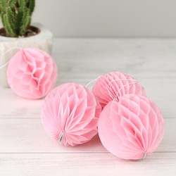 Set of Four Pink Paper Pom Pom Hanging Decorations