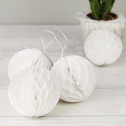 Set of Four White Paper Pom Pom Hanging Decorations