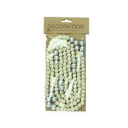 Silver and Natural Wooden Bead Garland