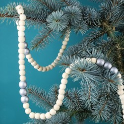 Silver and Natural Wooden Bead Garland
